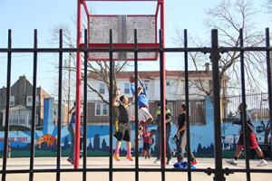 Children played basketball at Tustin Recreation Center.