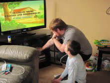 Jimmy helped his little brother Mark watch one of his favorite shows.