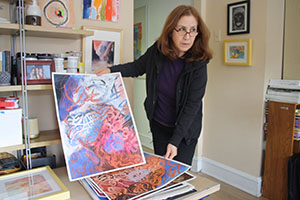 Jacqueline Unanue showed art pieces at her studio and home.