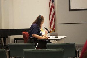 School counselor and parent, Carmella Cappetti, spoke at the School Reform Commission Meeting last Thursday.