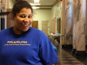 President of the Home and School Association Angelina Williams stood in the hallway of Masterman during last Saturday's spring cleanup event.