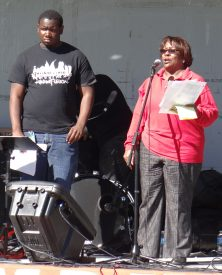 Adam Mitchell and Evette Jones encouraged the crowd to stand up for public education.