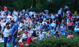 A large crowd gathers at Pastorius Park