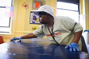 Beverly Treadwell, who first came to Face to Face to get help for her family, now volunteers in the dining room.