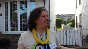 Tom Casetta of G-town Radio celebrating Maplewood Mall's first block party