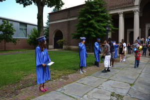 Graduates formed a receiving line after the ceremony.