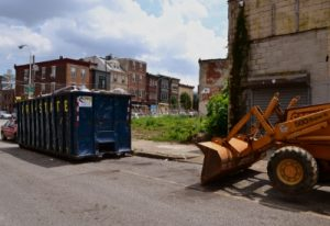 Developers cleaned up a vacant lot before construction began.