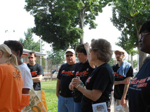"""Volunteers as they were oriented for the """"Block by Block"""" canvassing event."""