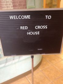 A welcoming sign near the front desk.
