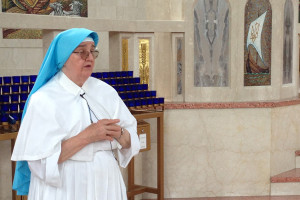 Sister Evhenia Prusnay stood in the Cathedral during one of their daily tours.