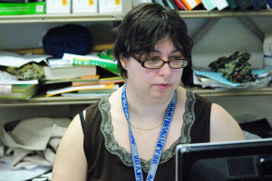 Lisa Chianese-Lopez worked hard at her computer throughout the day at the library.