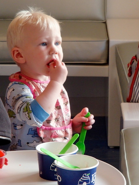 A pint sized customer enjoyed his first taste of Igloo Desserts.