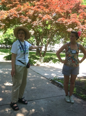 Ruth Seeley and Molly Finch lead a tour of Vernon Park's first rain garden.