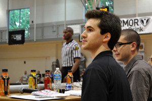 Alex Kline watches the basketball game at the Mary Kline Classic.