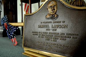 A plaque honoring the parade's founder, Samuel Lawson, is carried at the beginning of the parade each year.