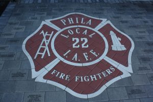 Local 22's insignia in front of the union's headquarters