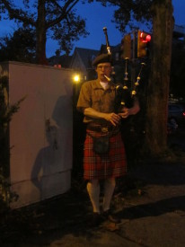 Musicians, such as this bagpiper, walked along Baltimore Avenue, playing their instruments during the Dollar Stroll.