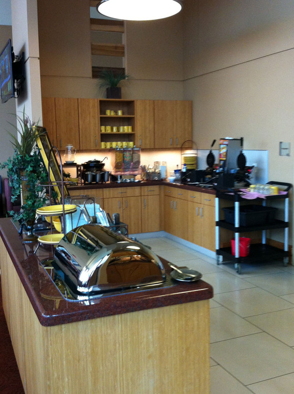 The kitchen and serving area of the Homewood Suites.