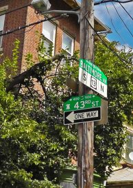 43rd  Street and Baltimore Avenue is in the heart of Spruce Hill, where Clark Park and the 34 trolley route intersect.