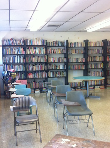 Future classroom with an entire bookshelf on the second floor of the Mantua Haverford Community Center.