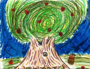 Finalist, Annika, from Calvary Christian Academy, created an illustration of an apple tree.