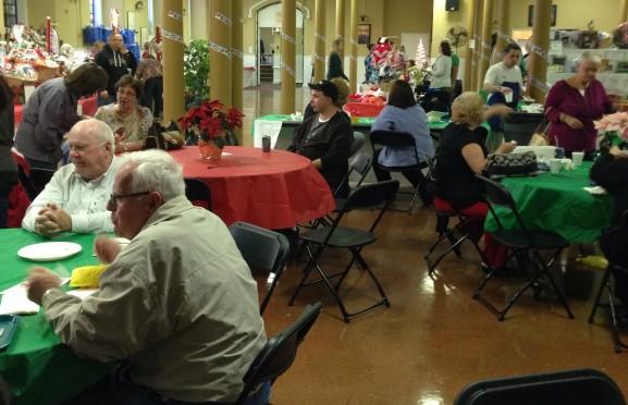 People sat down and enjoyed their food in between walking around.