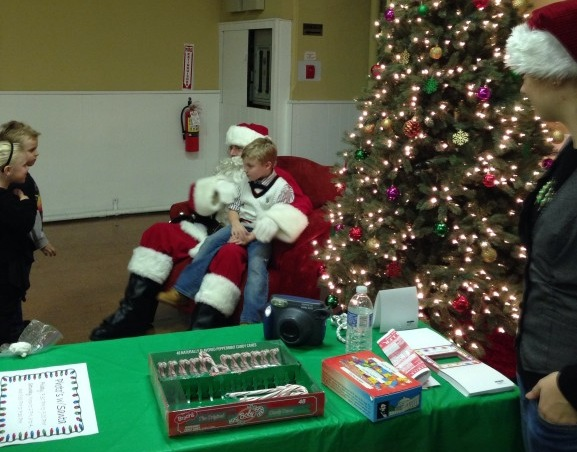 Children took pictures with Santa.