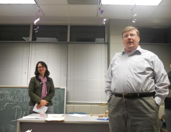 WPNA President Jess Gould (left) smiled as Secretary candidate JG McMillan (right) delivered his campaign speech at the organization's first election.