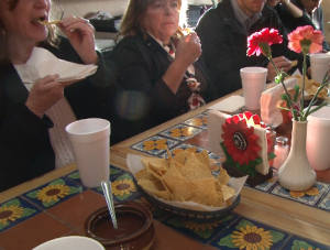 Attendees snacked on homemade tortilla chips and salsa.