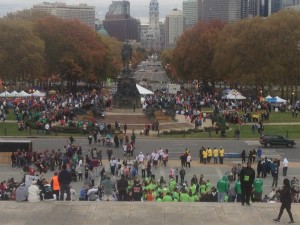 Thousands gather in front of the Philadelphia Museum of Art to support brain tumor awareness.