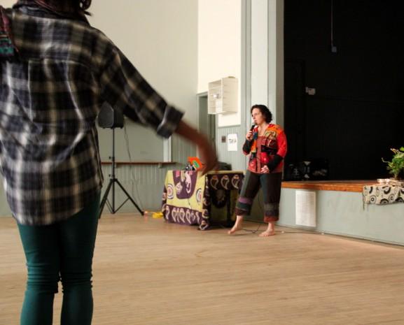 Nancy Gennatt begins warm-ups at her Sunday afternoon class.