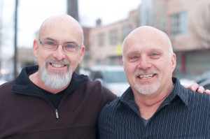 Steve Davis (right) and brother Pastor John Davis (left) moments before the 4 o' clock service at Grace Church on 35th and Haverford Ave.