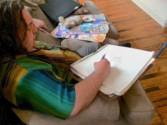 While in his apartment room at Coral Street Arts House, Nathan Smith worked on a sketch.