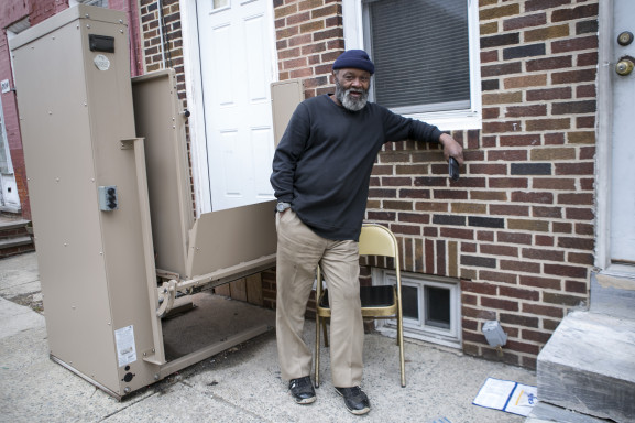 Jerome Ward outside of his Newbold row home.