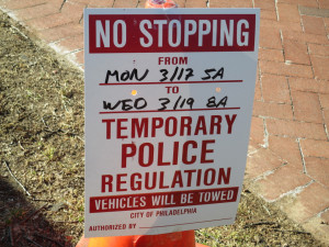 "One of the many ""No Stopping"" signs placed on Locust and Spruce between 40th and 43rd Streets."