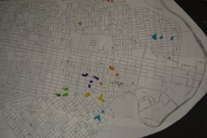 A map in UC Green's office indicates its past and future planting projects, with a concentration in the University City/West Philadelphia area. Southwest Philadelphia locations are represented by blue tacks.