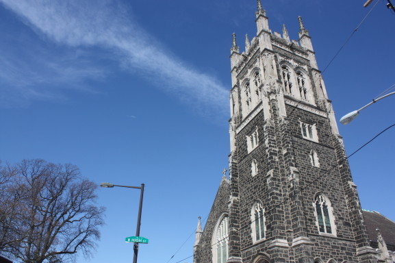 The chapel of the First United Church of Germantown overlooks the busy 6000 block of Germantown Avenue.