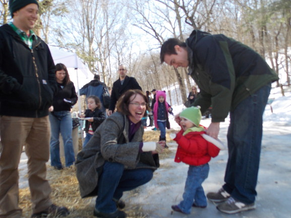 Fries talks with visitors on Maple Sugar Day.