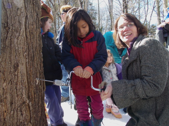 Trish Fries helps a young girl drill into a maple tree at the sugar bush trail.