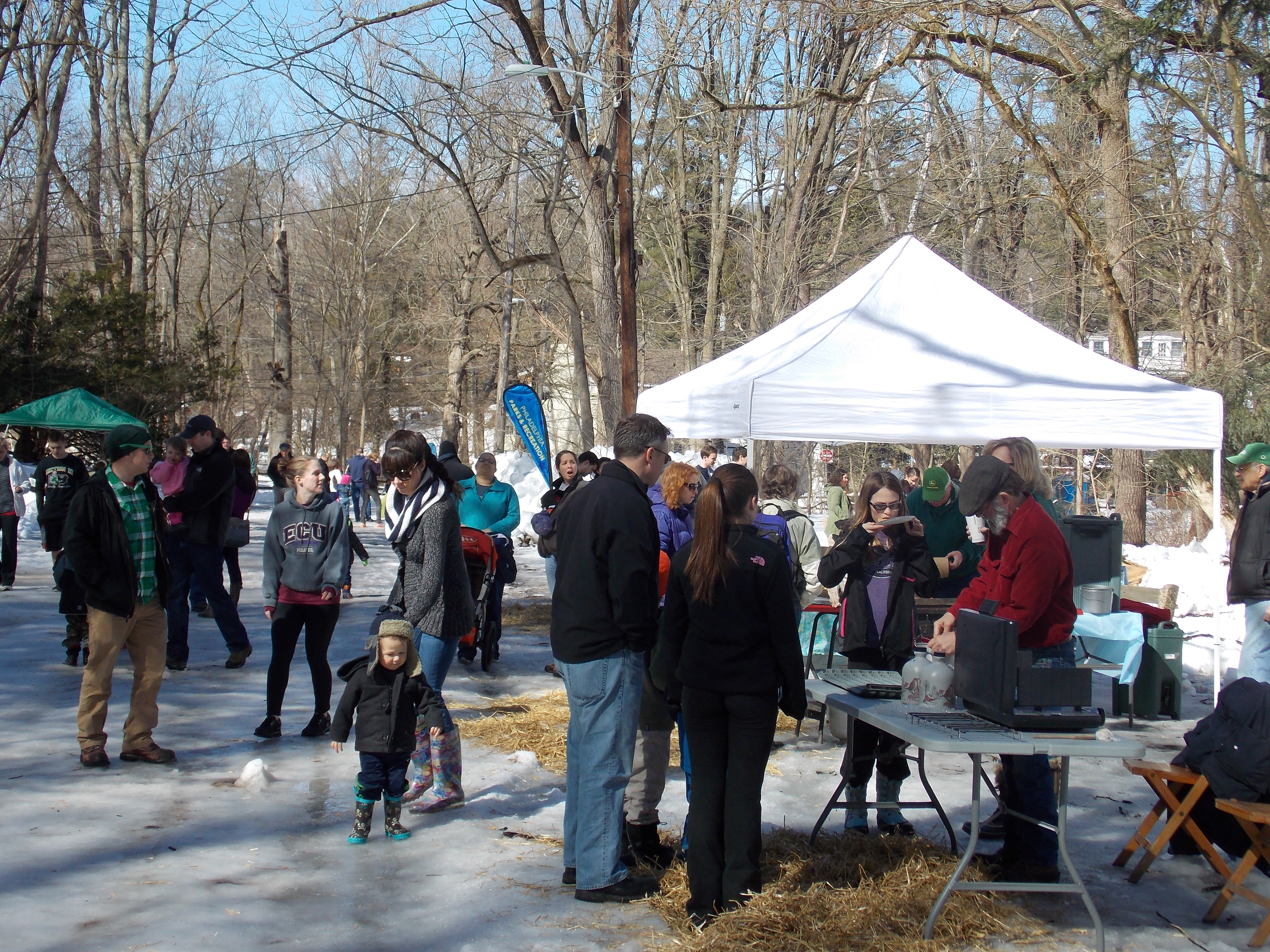 Crowds gather at Maple Sugar Day despite the snow and Ice.