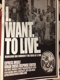 A flyer handed out during the meeting by the organization, Express Yourself, an urban crisis response center