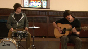 "Adam Shumski (left, on drums) and Luke Harsel of Family Vacation perform ""Plastic Chandelier."""
