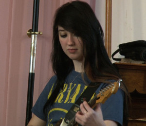 "Cheyenne Oxendine playing Neon Trees' ""Everybody Talks"" during a house band practice."