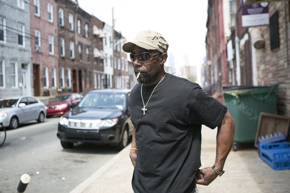 """Schizz Jackson has lived in South Philadelphia for three decades. He thinks Newbold is """"Where I can do me and nobody bothers me,"""" Jackson said, """"I run this block,"""" standing on the corner of 15th and Wharton Streets."""