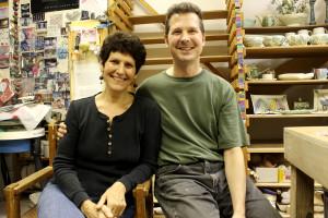 Sandi Pierantozzi and Neil Patterson, owners of Neighborhood Potters, in their studio on Fairmount Avenue.
