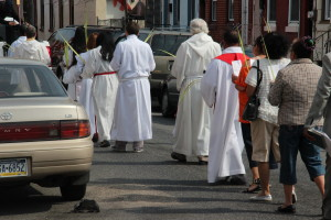 Palm Sunday Processional outside St. Veronica's, a consolidated church
