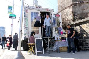 A fashion vendor showcases work at the Fairmount Arts Crawl on Sunday, April 6th, 2014.