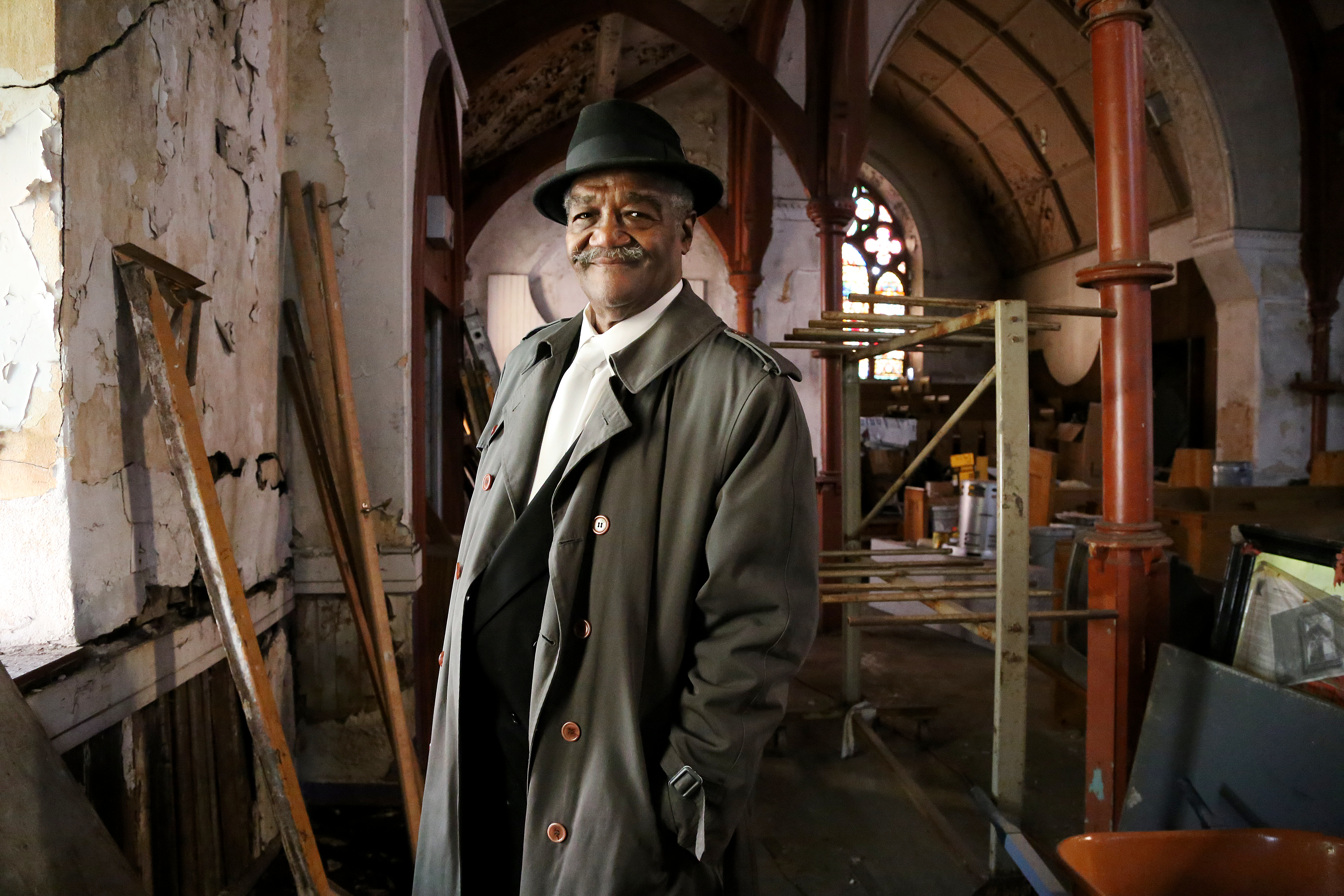 Deacon Lloyd Butler, a volunteer and lead carpenter on the church renovation project.
