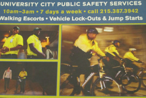 An advertisement for the University City District nighttime escort service.