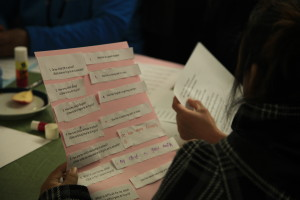 ESL students hold English and Spanish phrase sheets